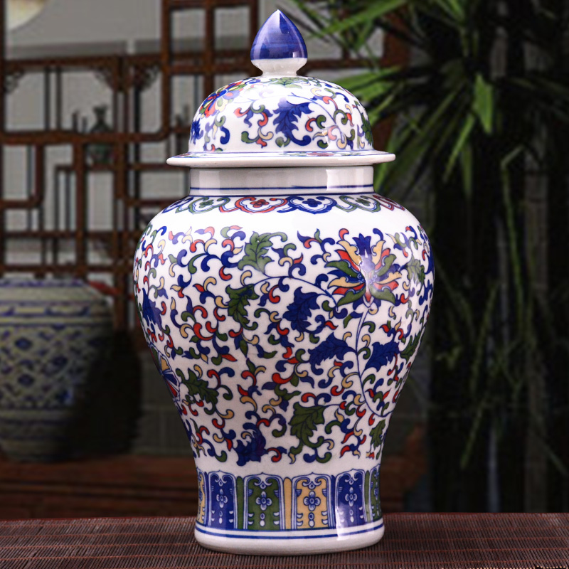 Antique Chinese Classical Qing Ceramic Big Ginger Jar Blue and White Porcelain Floor Vase For Precious Gift