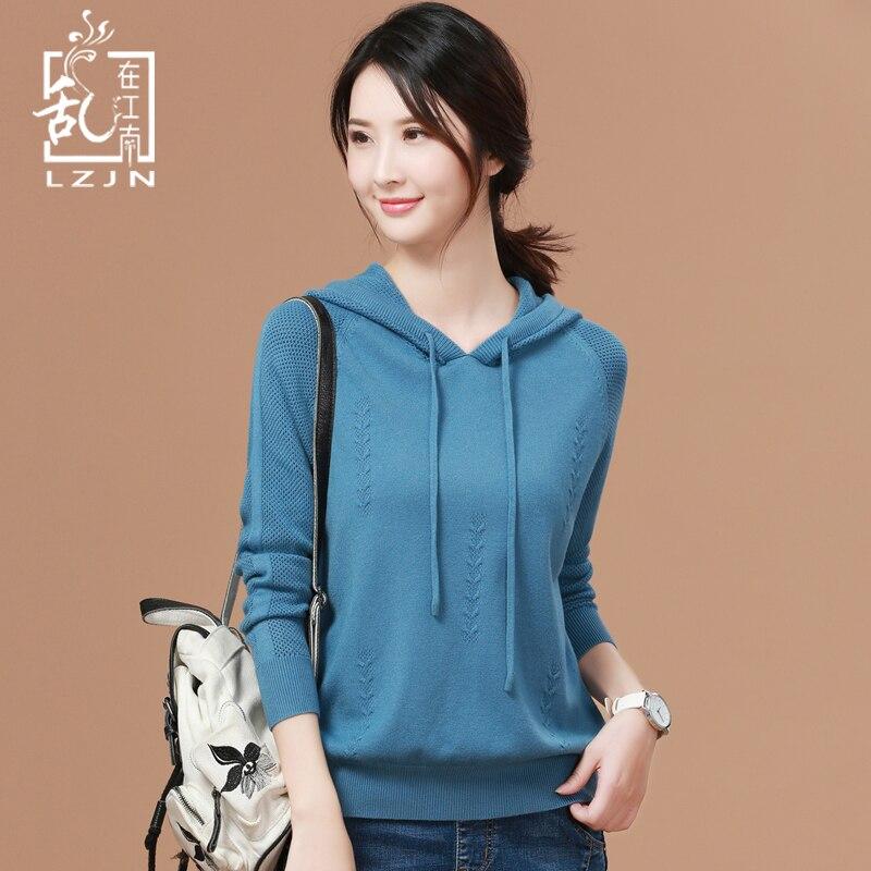LZJN Style coréen femmes chandail à capuche 2019 automne à manches longues pulls lâche tricot bas décontracté mince chandail chemise femmes hauts
