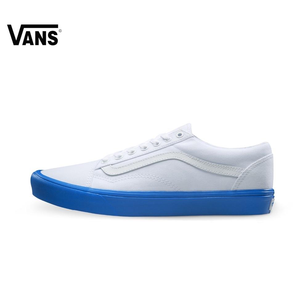 Original Vans White and Blue Color Men's Skateboarding Shoes Sport Shoes Sneakers original vans black and blue gray and red color low top men s skateboarding shoes sport shoes sneakers