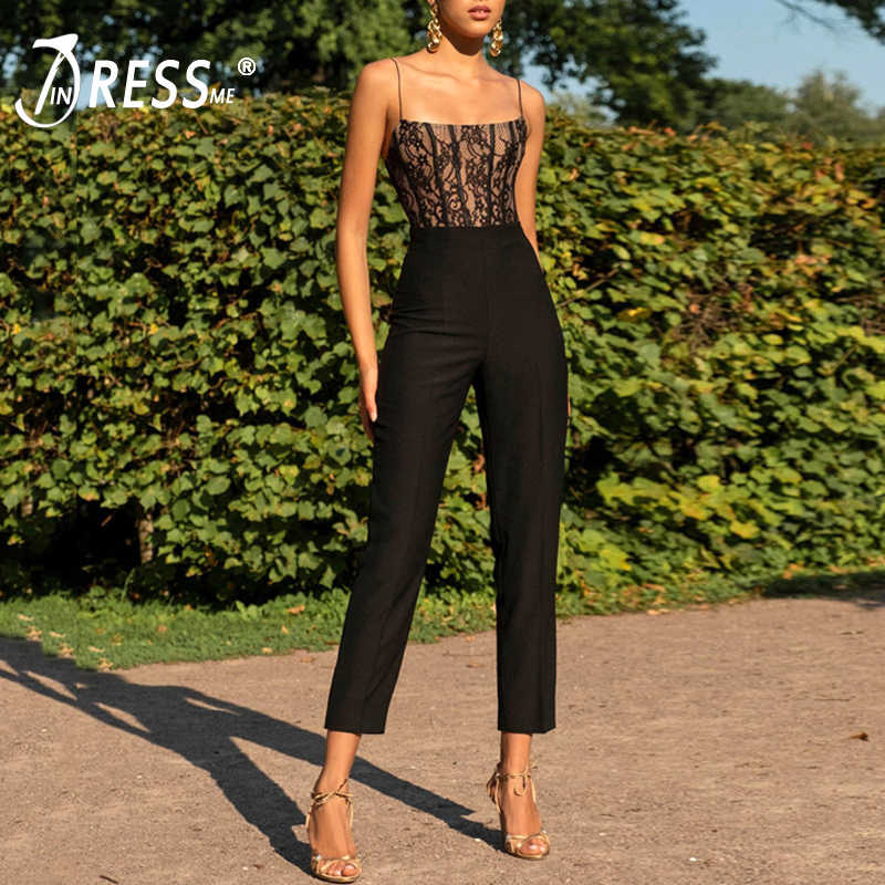 INDRESSME 2019 New Vestidos Elegant Women Sexy Square Neck Strap Sleeveless Backless Lace Party Summer Ankle Length Jumpsuit Hot