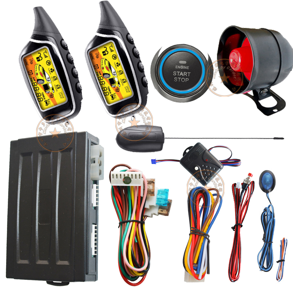 2 way auto car alarm system with engine start stop button remote anti robbery feature auto window rolling up output bypass outpu