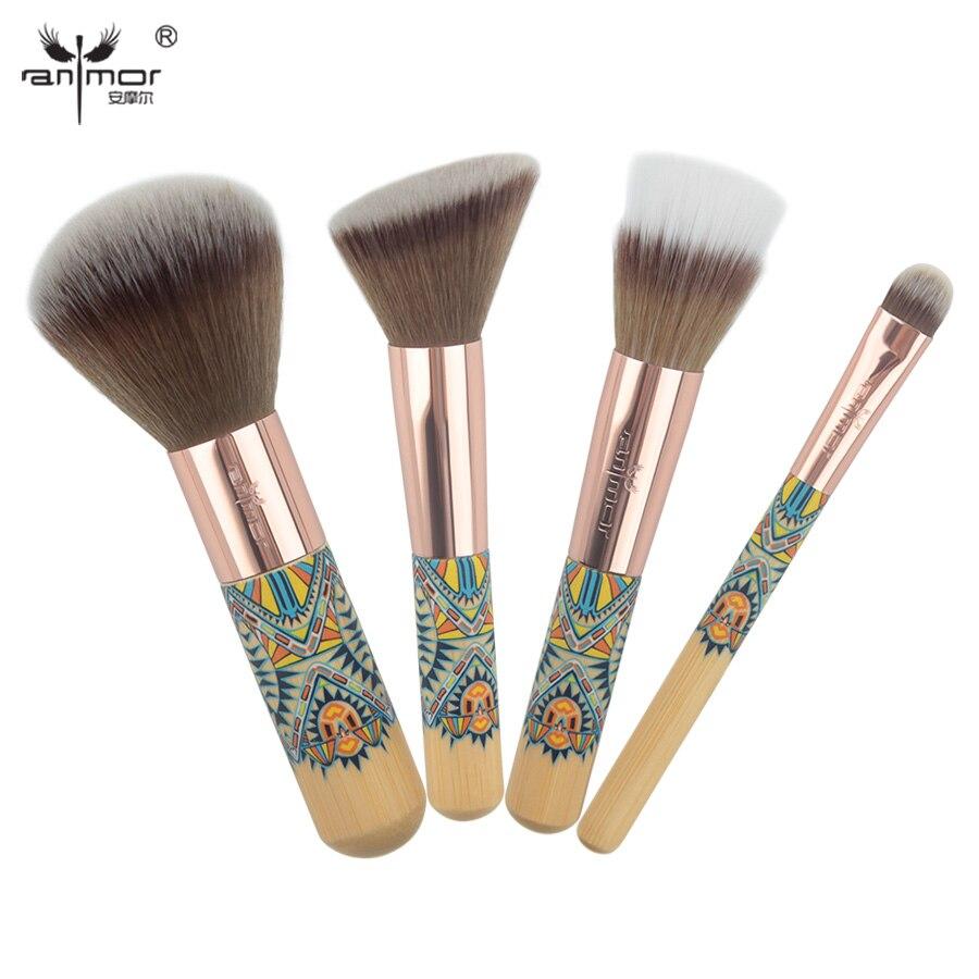 Anmor 4 unidades viaje cosmética Cepillos set con mini tamaño Polvos de maquillaje Colorete contorno Sombras de ojos duo fibra Cepillos