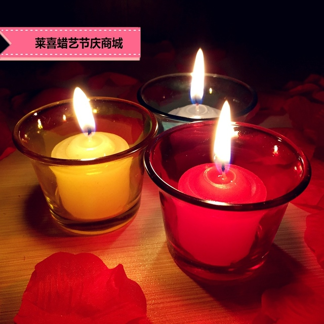 Aromatherapy Wax Small Colored Glass Desk Romantic Candlelight Dinner Restaurant Hotel Home Furnishing Birthday Gift