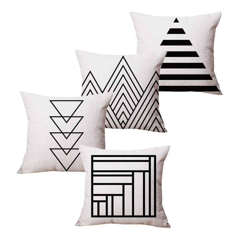 Contemporary Sofa Geometric Pillows: Comwarm Modern Minimalist Geometric Throw Pillow Abstract