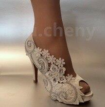 Zapatos de las mujeres Bombea Los Zapatos de Boda Blanco de Encaje Sedas Satenes Del Dedo Del Pie Abierto Zapatos de Ultra Tacones Altos Rhinestone de La Perla Vestido de Novia