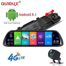 """QUIDUX 10 """"4G ADAS Android 8.1 dello specchio di Rearview DVR della Macchina Fotografica di GPS di Navigazione Full HD 1080 P Dash cam Video Recorder WiFi monitor"""