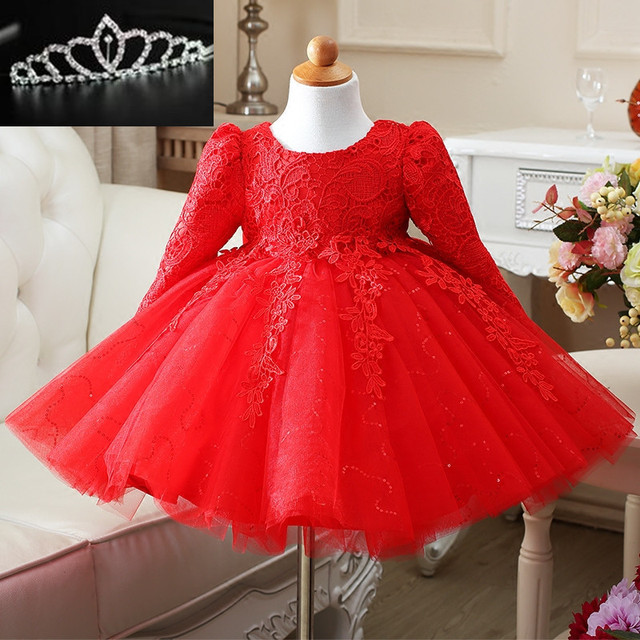 High Quality Autumn Winter Baby Girls Dress 1 Year Old Birthday Sequin Bow Infants Baptism Christening Wedding