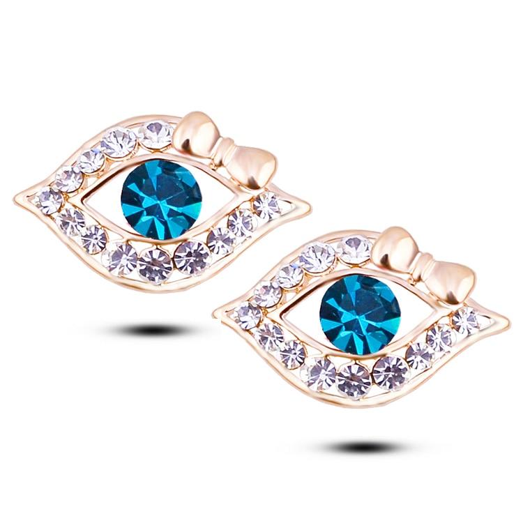 Fashion carter Stud Earrings Wholesale Titanium Steel Semicircle AAA Zirconia Classical Eye Earrings For Women Piercing Je W127