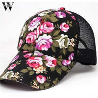 Womail 2017 Summer Baseball Caps for Men Snapback Caps Women Mesh Breathable Casual Adjustable Floral Hats Gift 1pcs