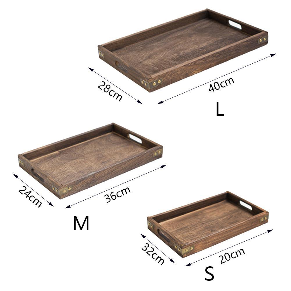 Ретро твердый деревянный сервировочный поднос столовая посуда для завтрака поднос для чая прямоугольная Фруктовая тарелка для закуски тарелки для дома отеля-1
