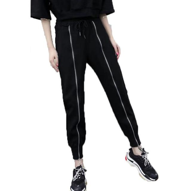 Mulheres Calças Pretas 2019 Nova Chegada da Primavera E do Outono Zipper Pockets Casual Calças Femininas Adolescente Meninas Estilo Europeu N10