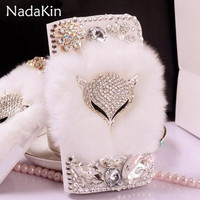 Bling Diamond Peacock Fox Case For Google Pixel 2 Rabbbit Fur Wallet PU Leather Flip Cover
