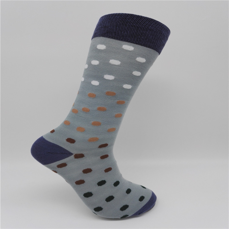 CH0033 New Style Colorful Dot Mens Combed Cotton Socks Brand Man Dress Knit Socks Wedding Gifts Free shipping US size(8-12)