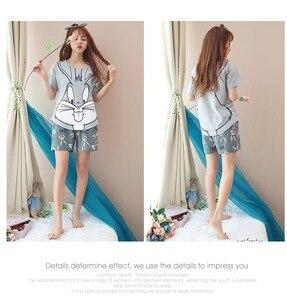 Image 5 - 2019 Summer Pijamas Women lovely rabbit Cartoon Pajamas Shorts Set Female Cute Sexy Night Suit Cotton Sleepwear big yard M XXL