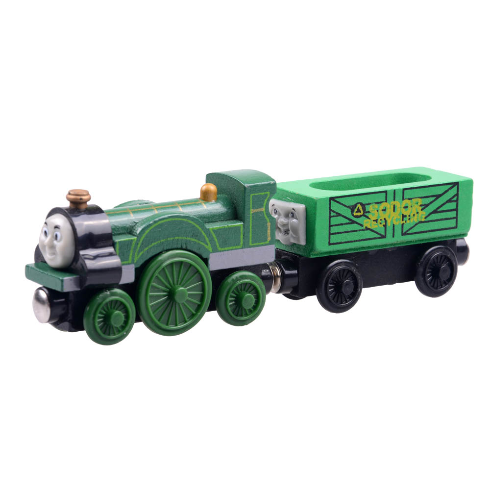 2pcs/lot Baby educational vehicle toys Wooden Magnetic Tomas Railway Train head Jasmine and recycle car