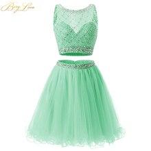 BeryLove недорогое короткое Мятное платье из двух частей для выпускного вечера, платье из тюля с блестками для выпускного вечера, вечерние платья с кристаллами, платье для выпускного вечера