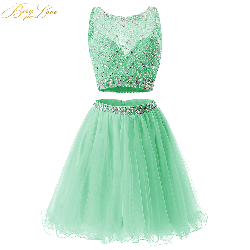 BeryLove Cheap Short Mint Two Pieces Homecoming Dress 2020 Sequined Tulle Homecoming Dress Crystal Party Gown Graduation Dress