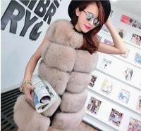 High Grade Female New Fashion Brand Winter Fraux Fur Coat Imitation Fox Fur Vest Coat Sleeveless