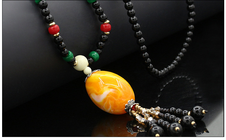product New2017 hot summer 1PCS quality gem beads sweater chain Retro flower long necklace Fashionable joker adorn article for gifts
