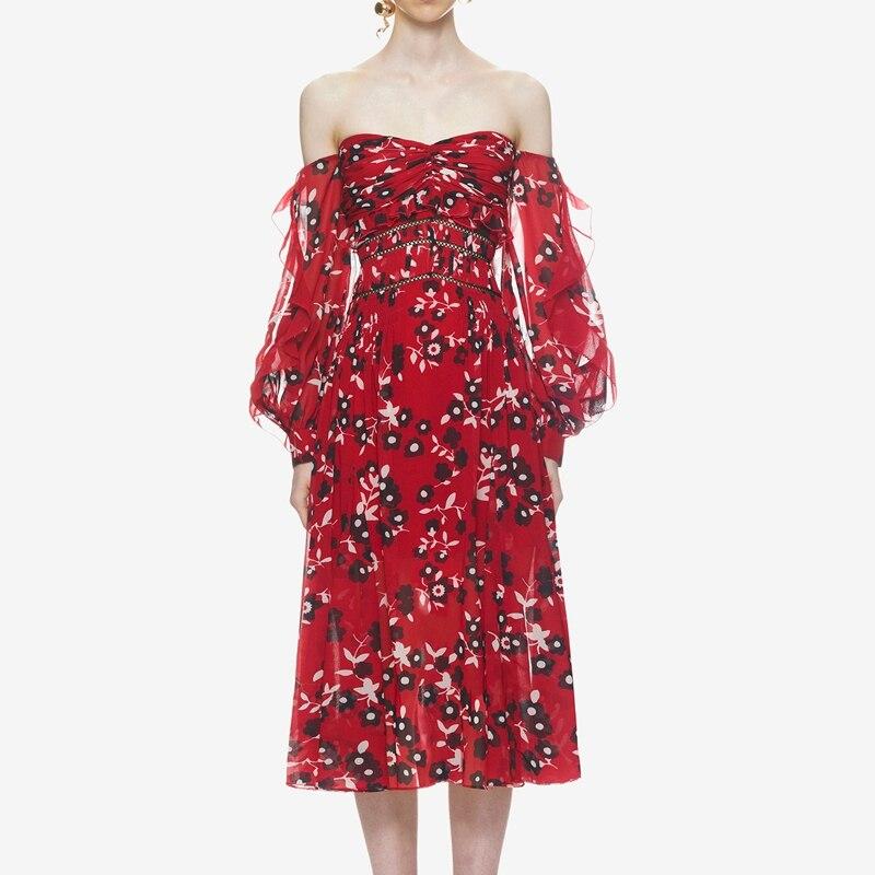 2018 Summer Self Portrait Dress Designer Women Red Printed Dresses Off the Shoulder Vestidos