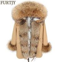 long winter jacket Real natural Fur Coat winter jacket Long Women fur liner hooded parkas real warm raccoon fur liner jackets