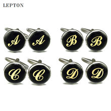 2017 Sale Real Tie Clip Letters Cufflinks For Mens Round Gold Color Letter cuff links Lepton Brand Men shirt cuffs Cufflink