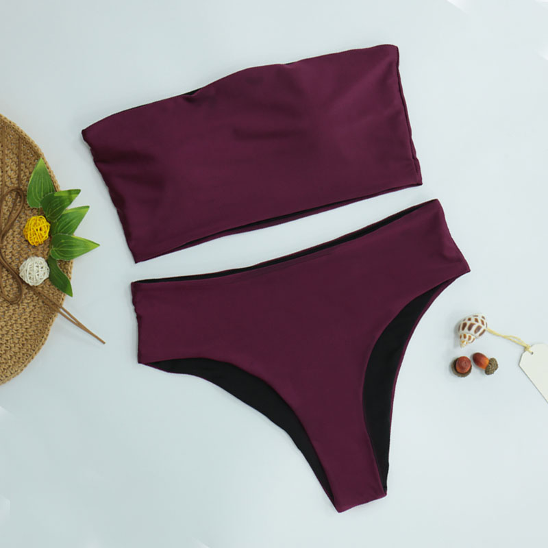 HTB153cwKkKWBuNjy1zjq6AOypXaD High Leg Bandeau bikini set Swimwear female two pieces swimsuit High Waist Bikini Women Bathing Suit biquini