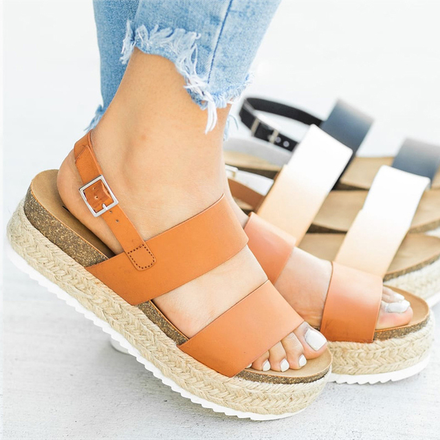 Sandali delle donne 2019 Nuovi Sandali Della Piattaforma Con Zeppe Scarpe Per Le Donne di Estate Chaussures Femme Cuoio Tacchi Spessi Sandalias Mujer
