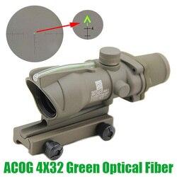 Тактический Оптический прицел из волокна ACOG 4X32, прицел с зеленым стеклом и гравировкой шеврона, оптический прицел из натурального зеленого ...