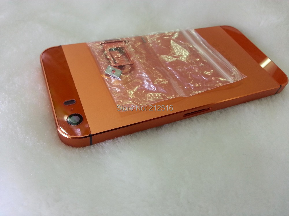 Replacement Back Metal Housing Orange Middle Frame Battery Cover iPhone 5s - External Phone Accessories store