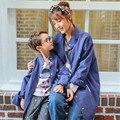 2017 Весной Новый Соответствия Мать Дочь Одежда Мать Сын Костюмы Сплошной Цвет Средний Хлопок Теплый Повседневная Пальто Верхняя Одежда