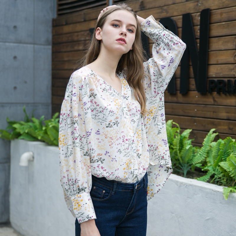 100% silk small flowers females womens fashion long sleeve girls lady casual shirts blouses autumn spring summer sun care cloth