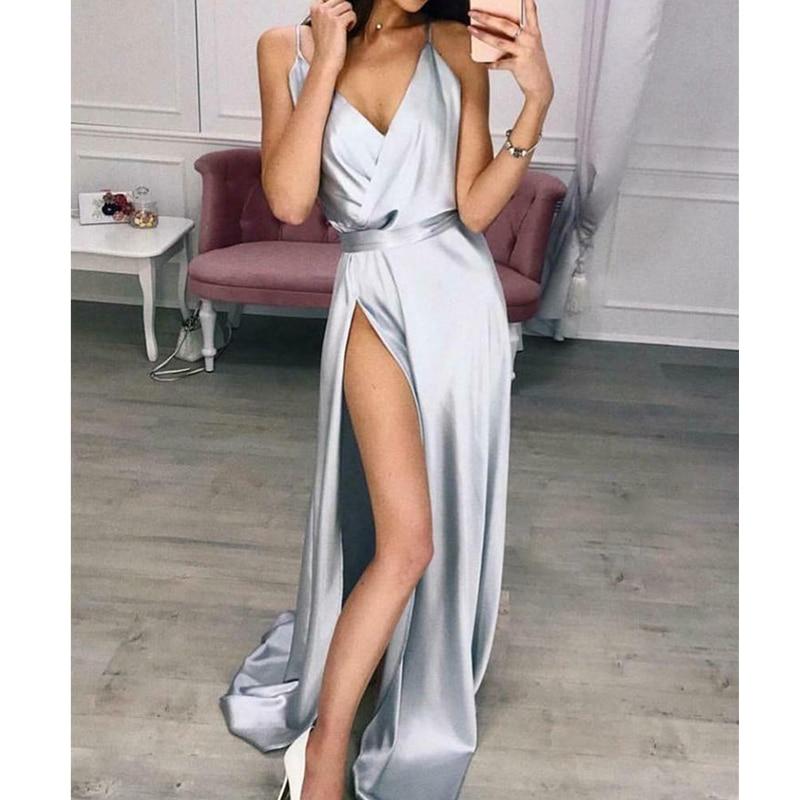 Women's Elegant Plain Maxi Dress Strappy Backless High Waist V-Neck Bodycon Party Long Formal Dress Party Night Women Lot