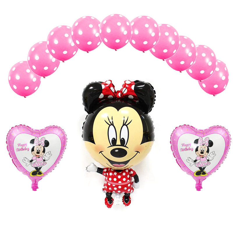 13pcs mickey minnie helium balloons set with pink heart minnie foil balloons and latex globos for children birthday decoration