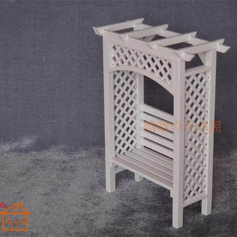 1:12 miniatura pie flor vintage madera estante blanco Wisteria flor marco muebles mini jardín escena esencial en Casas de muñecas de Juguetes y ...