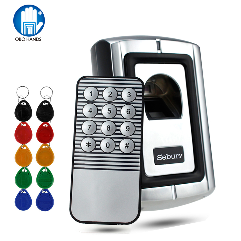 Metal Standalone Fingerprint Access Control Reader Biological Recognition Lock Finger Scanner With Rainproof Case Cover+ Keys