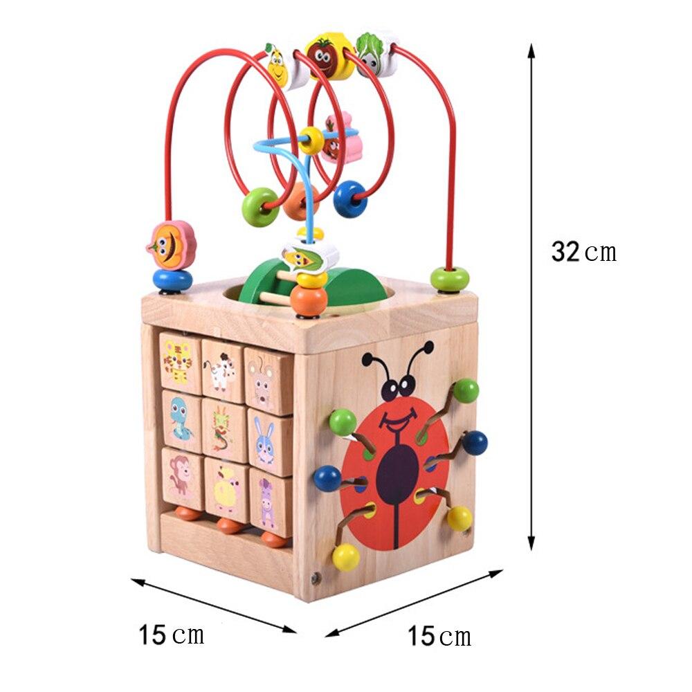 Perle en bois labyrinthe multi-fonction en bois mathématiques autour de perle labyrinthe lettres reconnaissance boulier horloge apprentissage jouet éducatif pour les enfants - 5
