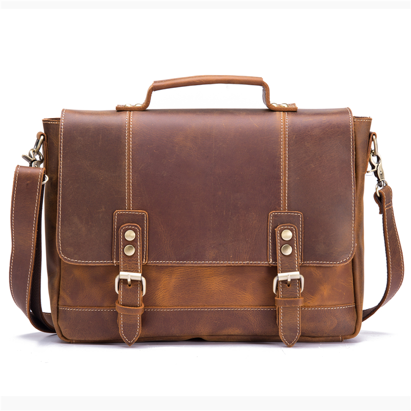 Genuine Leather Men Briefcase Cowhide Retro Male Casual Messenger Bag Handbags Bolsa Business Shoulder Cross Body Bag For Man купить в Москве 2019