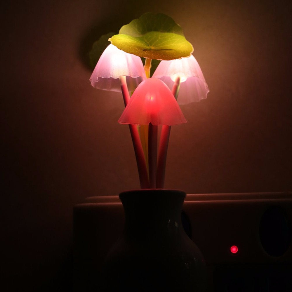 Mushroom Night Lamp intelligent light Sensor Colorful LED sensor Bedroom kids sleeping Home automatic US Plug Indoor Decor Gift in LED Night Lights from Lights Lighting