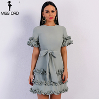 Missord 2018 Sexy Spring And Summer Elegant Short Sleeve O Neck Bowknot Dresses Female Ruffles Bodycon