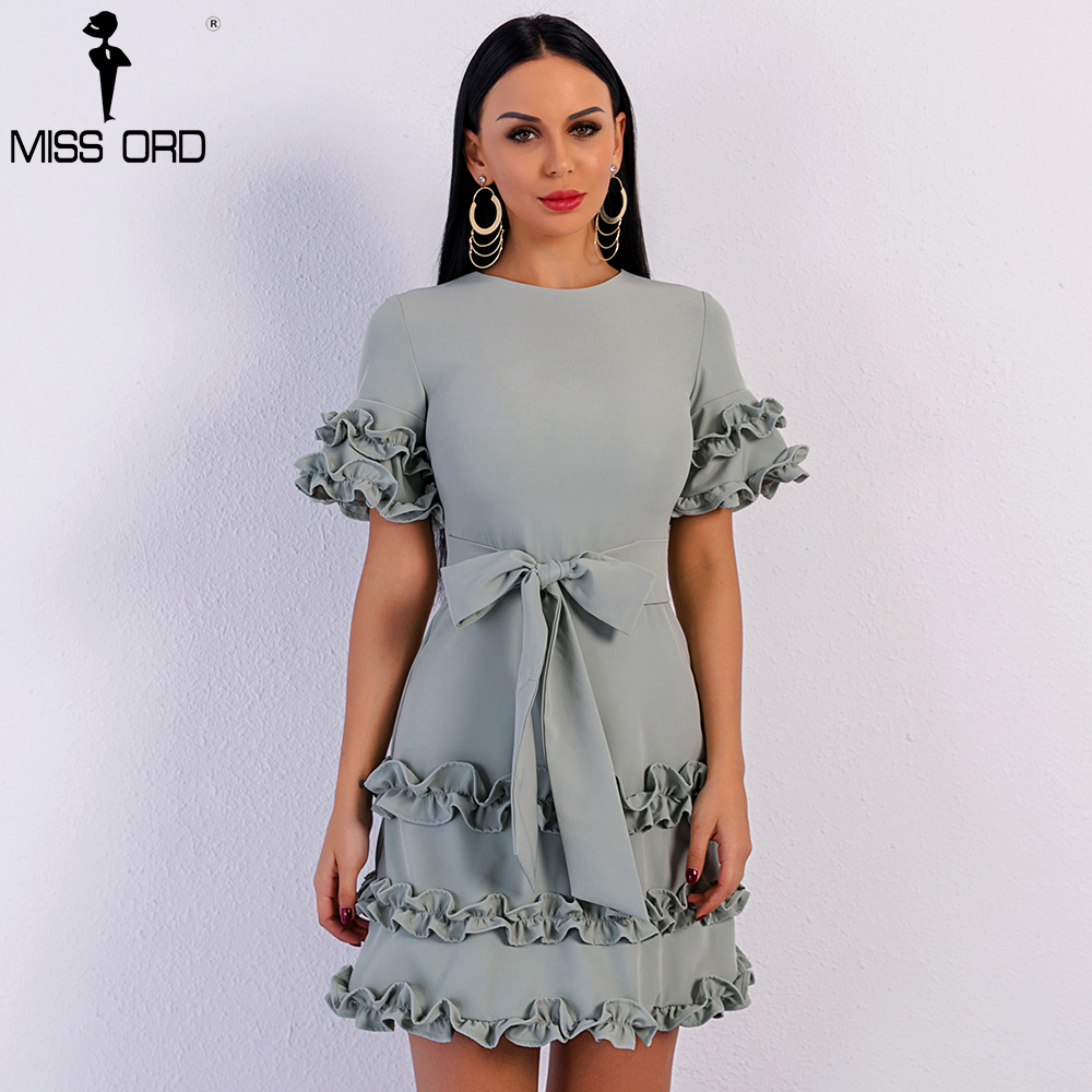 Missord 2019 Sexy Spring and Summer Elegant Short Sleeve O Neck Bowknot Dresses Female Ruffles Bodycon Party Dress FT8969