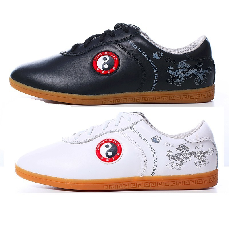 Hot Leather Tai chi shoes  top Layer Cowhide Practice Kung fu Shoe Ox Tendon Bottom maritial  art shoes shoes real cowhide against the stench martial arts kung fu shoes figure end of antiskid beef tendon yin and yang