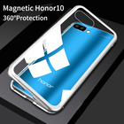 Magnetic Adsorption Flip Case for Huawei Honor 10 Tempered Glass Back Cover Luxury Metal Bumpers for Huawei Honor10 Hard Case