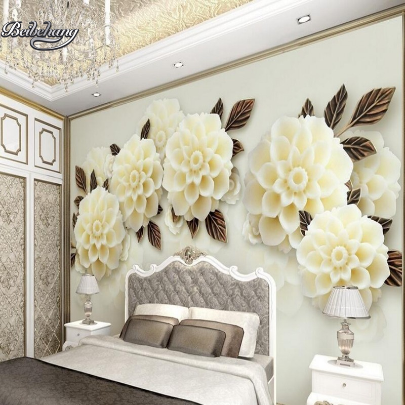 Beibehang Custom wallpaper photo large mural living room TV background 3d wallpaper relief jade flower wallpaper for walls 3 d shinehome sunflower bloom retro wallpaper for 3d rooms walls wallpapers for 3 d living room home wall paper murals mural roll