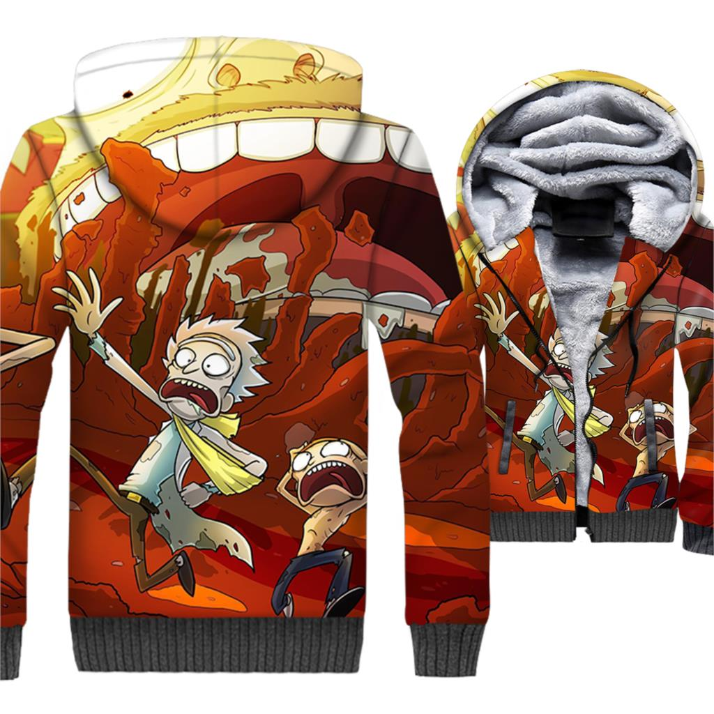 Rick and Morty 3D Print Hoodie Men Funny Hooded Sweatshirt 2018 Brand Winter Thick Fleece Warm Zip up Coat Plus Size 5XL Jacket in Jackets from Men 39 s Clothing