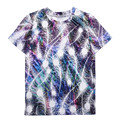 2017 Summer T shirt Women Tops Tees Short Sleeve Colorful Feathers Print Tshirt Funny Woman Clothes Plus Size