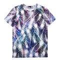 2017 Verão T shirt Mulheres Tops Camisetas de Manga Curta Colorido Penas Impressão Tshirt Engraçado Mulher Roupas Plus Size