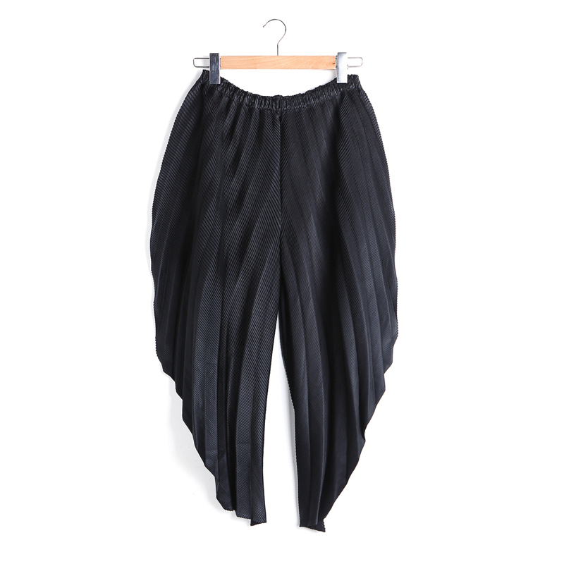Grande black Longueur 2018 Blue Printemps Élastique Plissé Mode Taille Marée Pantalon Sarouel Femmes Noir kaki Navy Solide Cheville Lâche Changpleat Miyak 1zOqwHO