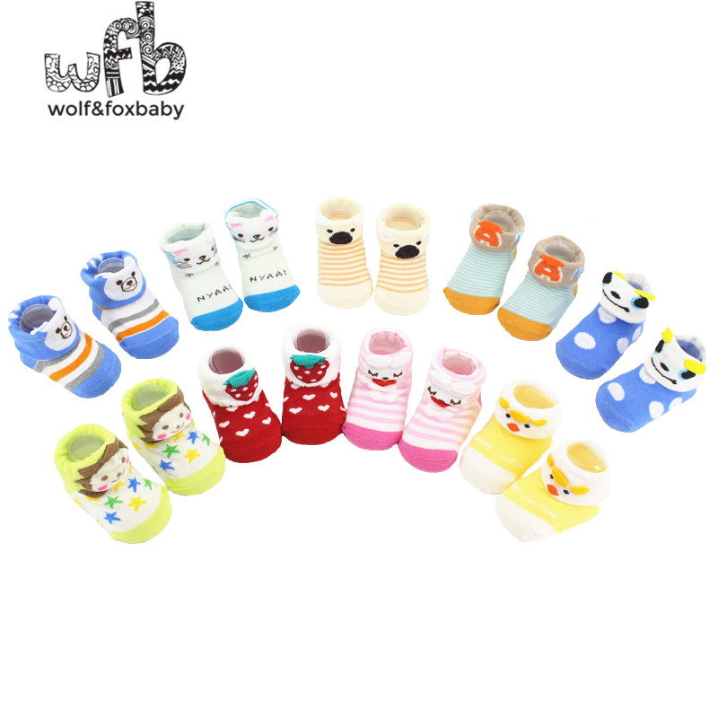 Retail 6pairs/lot 0-10M Kids infant Baby <font><b>Unisex</b></font> Newborn <font><b>Animal</b></font> Cartoon Flanging <font><b>Socks</b></font> Combed Cotton 2014 spring or fall image