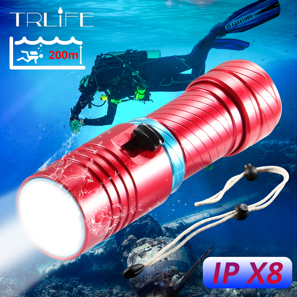 Super Bright L2 Waterproof Diving Flashlight Dive Underwater 200 Meters LED Torch Lamp Camping Lanterna Use 26650 18650 Battery